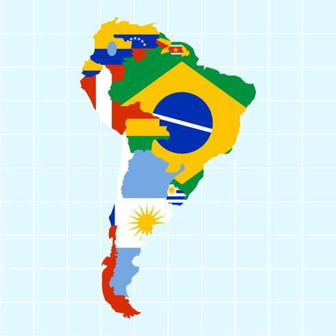 Vectores modernos únicos del mapa de Suramérica