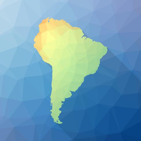 Geometrical Stylized South America Map