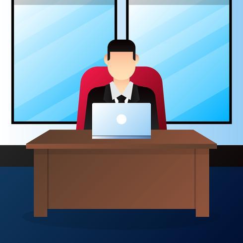 Empresario de hombre de negocios jefe sentado en la ilustración de silla de oficina