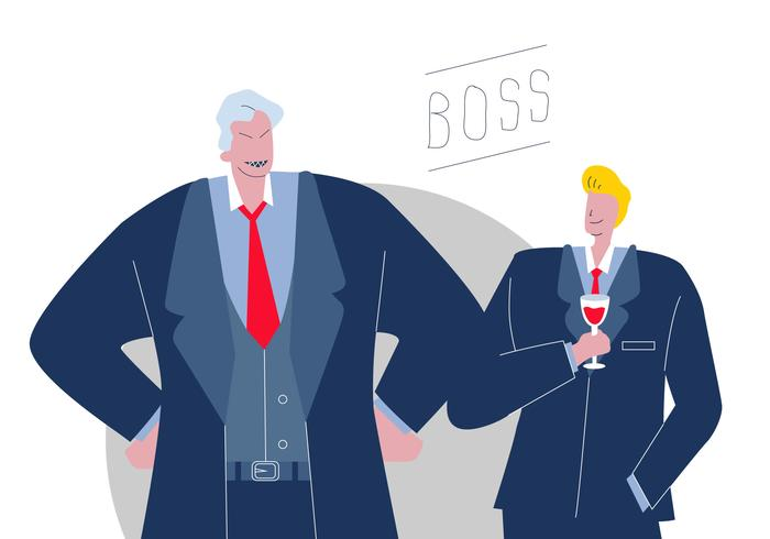 Two Type Kind Of Boss In Office Vector Flat Character Illustration