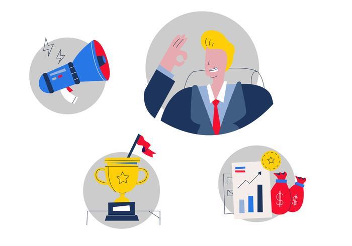 Chefe bem sucedido em ilustração vetorial de marketing