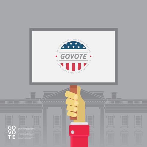 Ilustração de sinal de campanha, ilustração de sinal de votação
