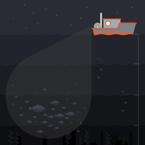 Deep Sea Fishing Illustration. Fishing Ship and Deep Sea Details. vector