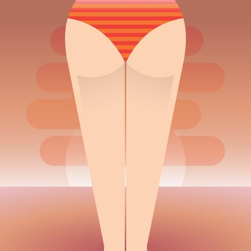Beach Bum Girl and Sunset Illustration