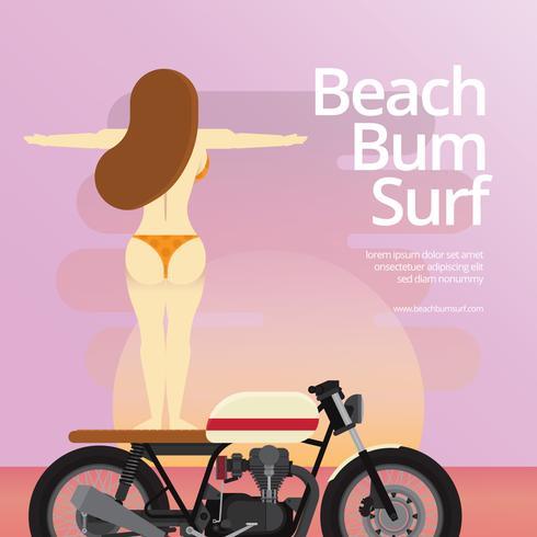 Praia vagabundo e garota surfando na motocicleta, praia e ilustração de férias do sol