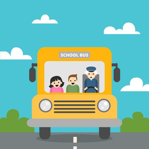 Cute School Bus With Nature Scene With Children And Old Man Inside To Back To School