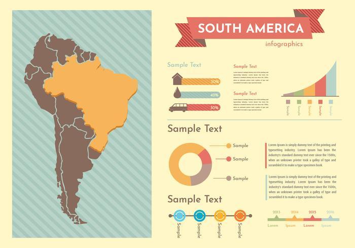 moderna Sydamerika karta infographic vektor