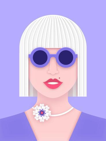 Modernes Frauen-Gesicht in der Papier überlagerten Kunst-Art
