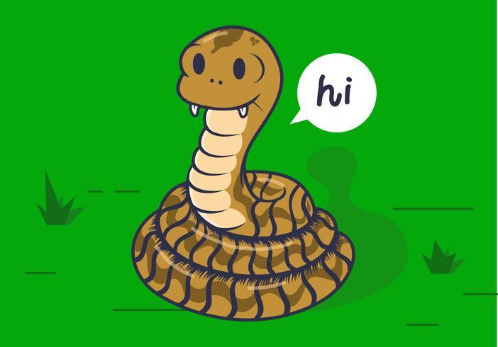 Coiled Cartoon Rattlesnake Vector
