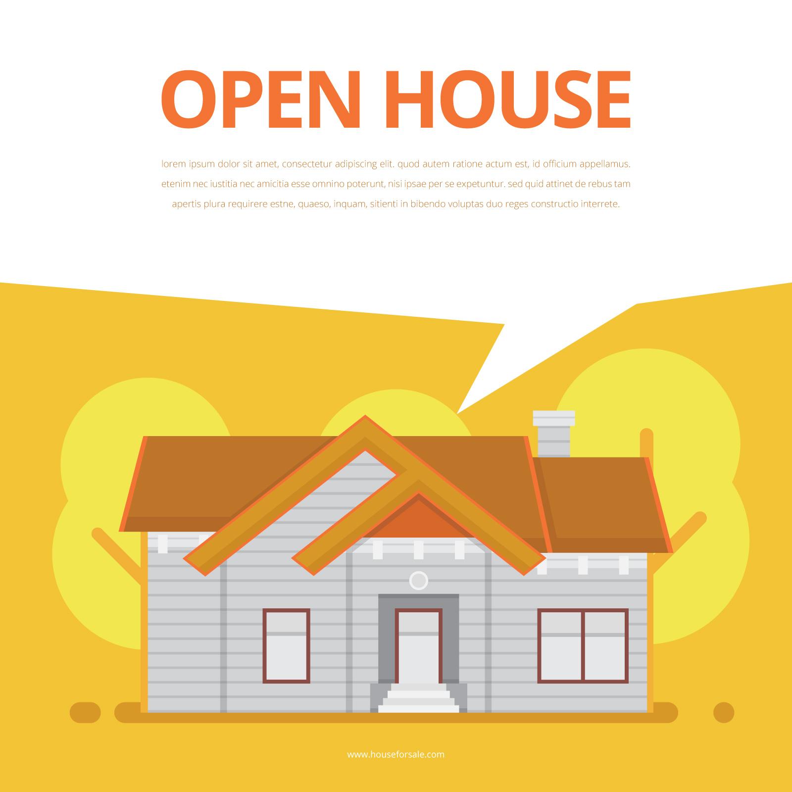 real estate listing illustration  house for sale