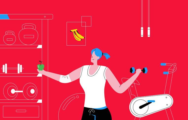 Women Bodybuilder At Fitness Gym Vector Illustration