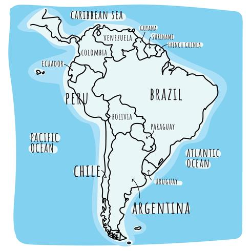 Doodled South America Map Download Free Vector Art Stock Graphics