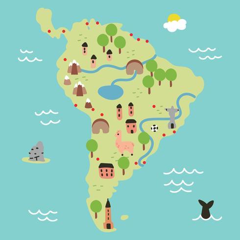 Súper colorido mapa de América del sur