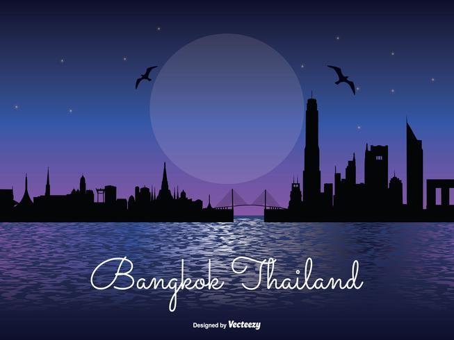 Ilustração de Skyline de noite de Bangkok