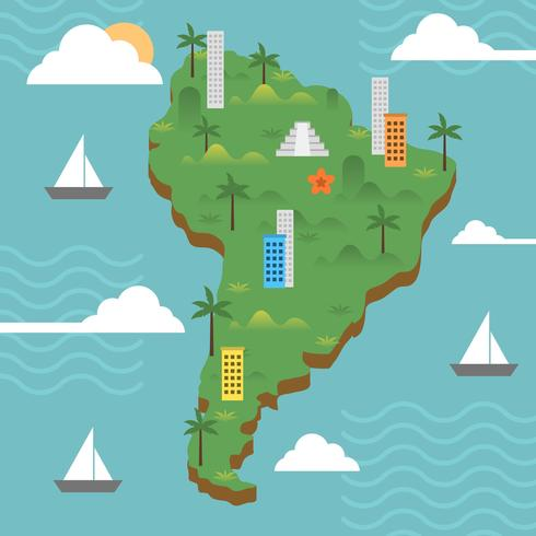 Flat Modern South America With Detail Background Vector illustration