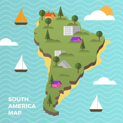 Flat Modern South America Map With Details Background Vector illustration