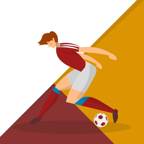 Modern Minimalist Russia Soccer Player Dribble  a Ball With Abstract Geometric Background Vector Illustration