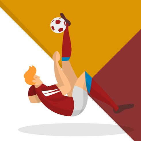 Modern Minimalist Russia Soccer Player Shoot a Ball With Geometric Background Vector Illustration