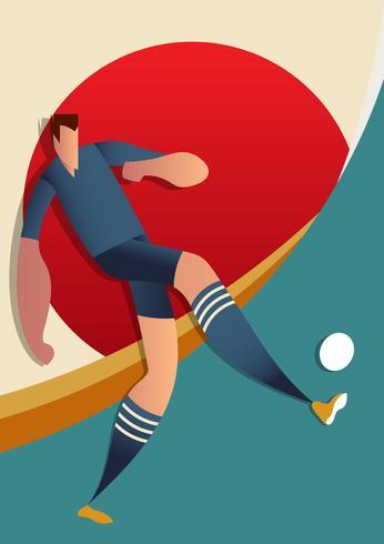 Ilustração do vetor dos jogadores de futebol da copa do mundo de Japão