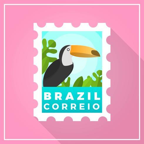 Flat Modern Brazil Postage Stamp with gradient background vector illustration