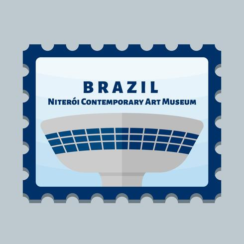 Vecteurs de beau timbre-poste de Brasil