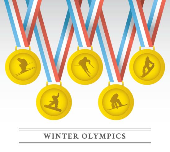 Vinter OS Medaljer Vector