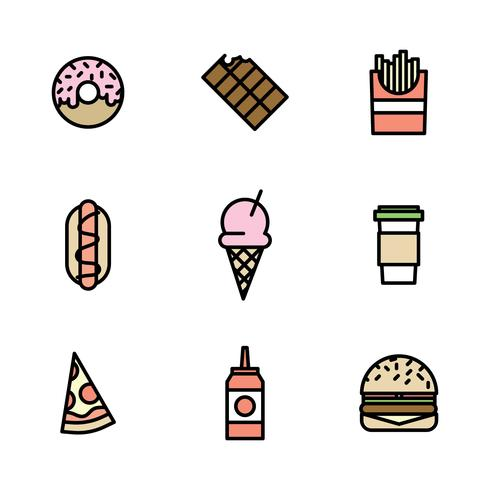 Outlined Colorful Fast Food Icons