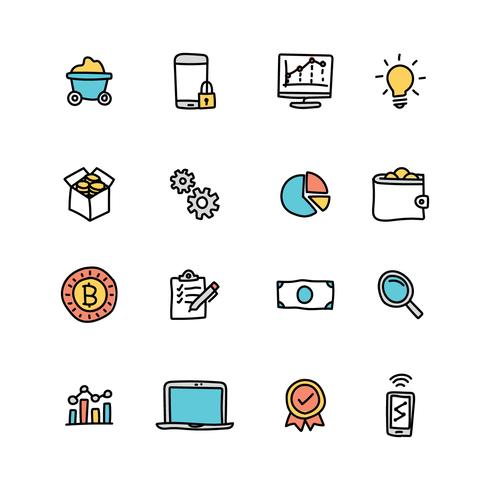 Doodled Set Of Data Mining Icons
