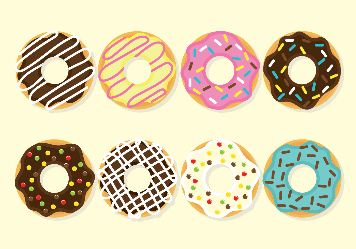 Strawberry Sketch Donuts Vector Set - Do...