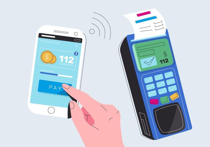 Het betalen van elektronische geldrekening met mobiele telefoon Vector vlakke afbeelding