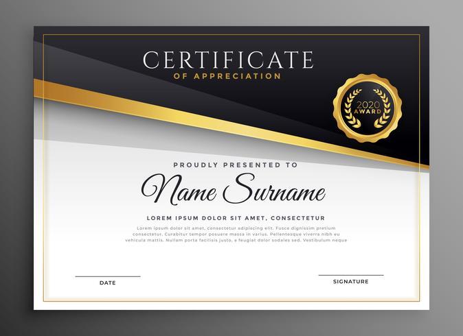 black gold premium certificate of apreciation