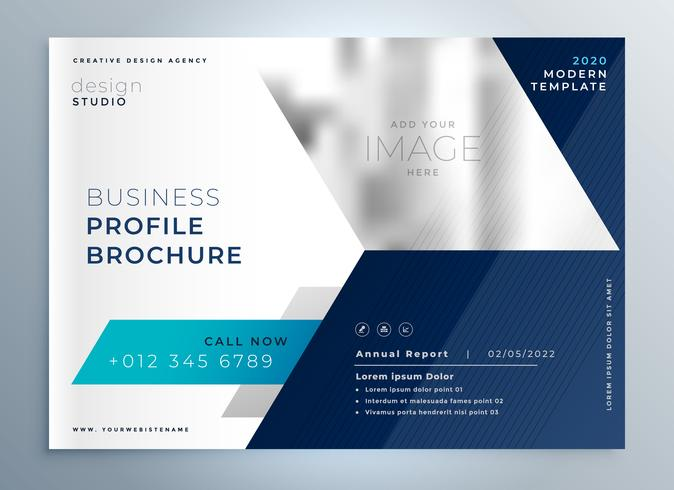 modern blue geometric brochure presentation template