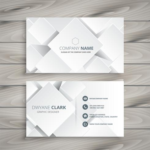 elegant white business card with 3d shapes