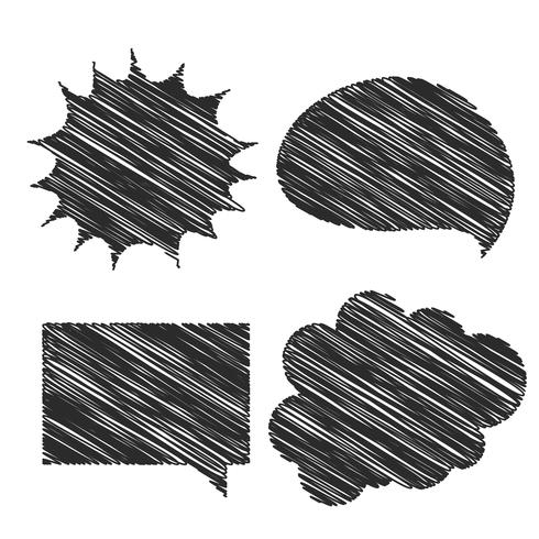 four hand scribble chat bubble design