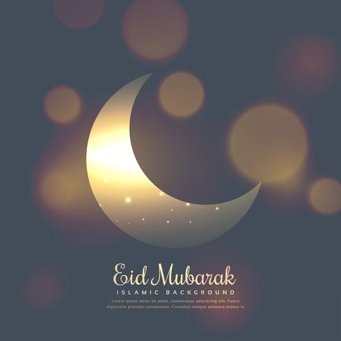 Diseño elegante eid mubarak con luna brillante