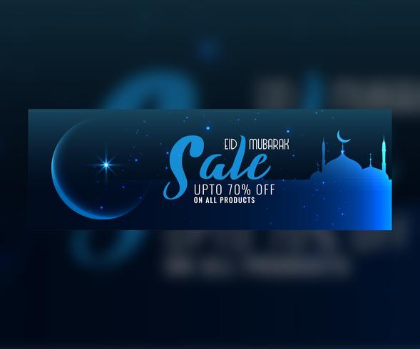 eid mubarak blue night scene sale banner