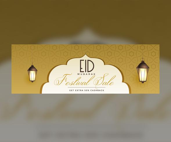 stylish eid sale banner design with hanging lamps