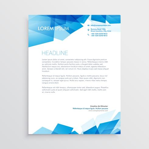 abstract blue letterhead design template
