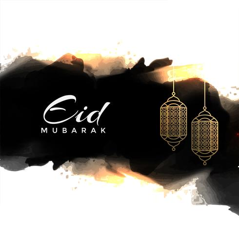 abstract eid mubarak greeting with hanging lamps