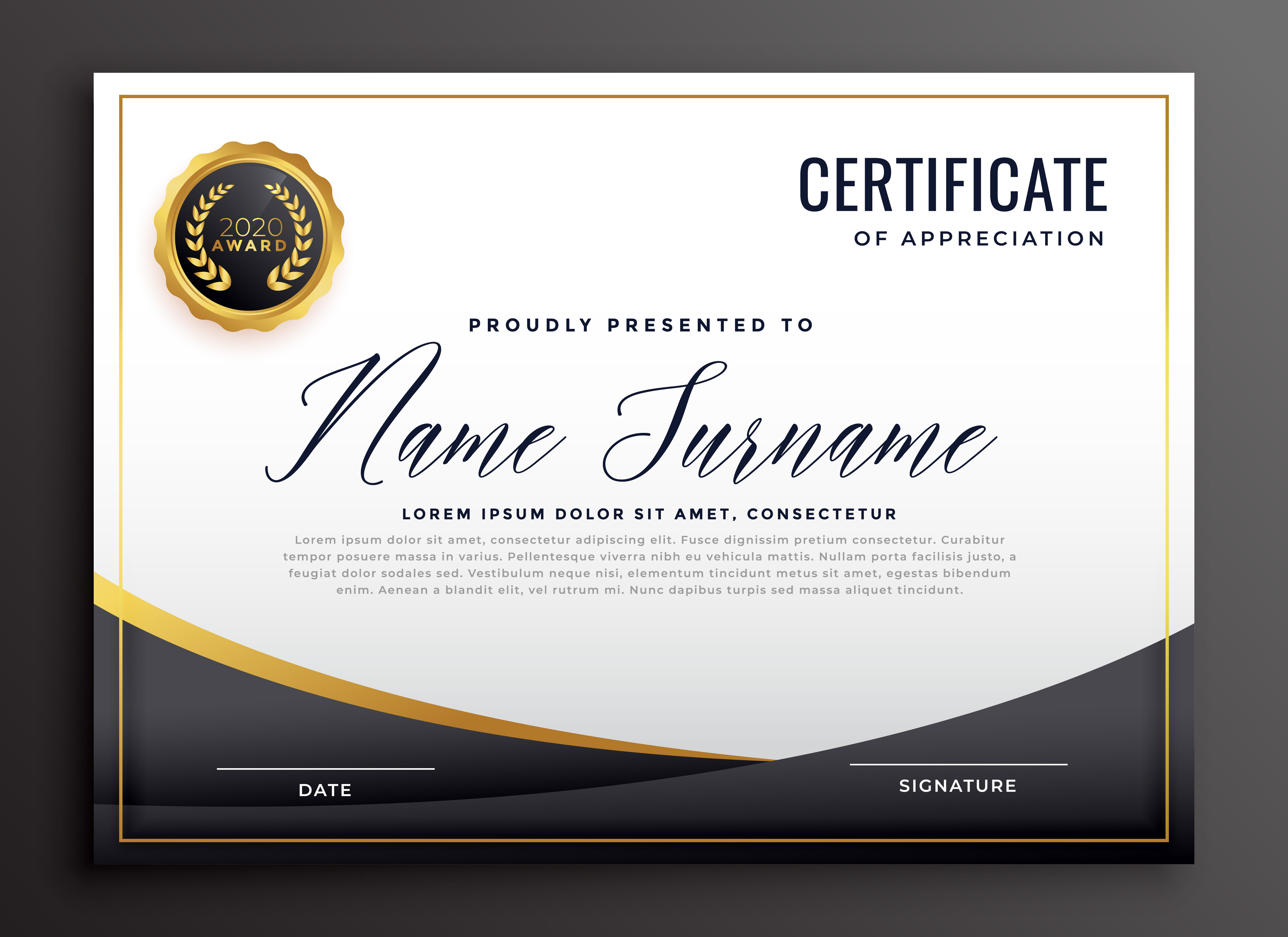 Black Certificate Of Appreciation Template Download Free Vector