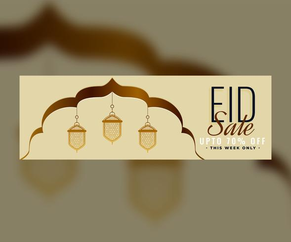 eid sale banner design with islamic decorative lantern