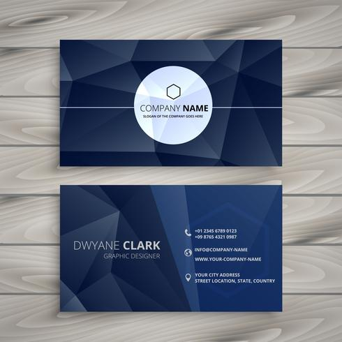 abstract blue low poly business card