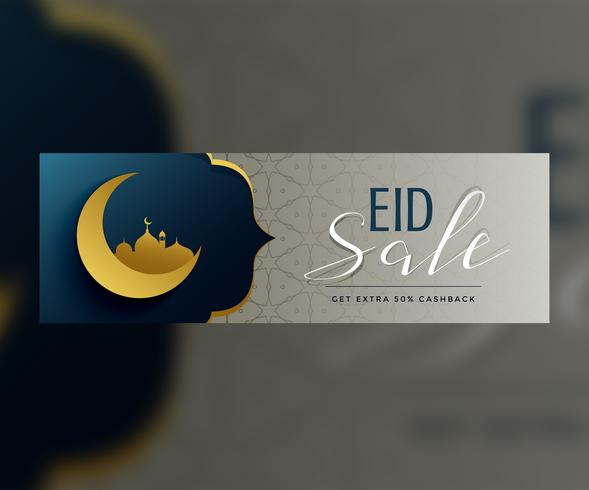 premium eid mubarak banner design with sale offer details