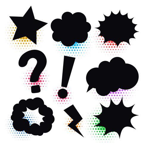 elementos de bolha quadrinhos preto retrô definido com meio-tom