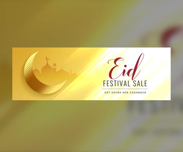 shiny eid sale banner or header golden design