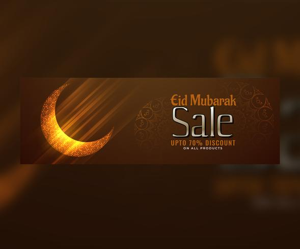 shiny eid mubarak moon design web banner