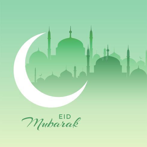 hermosa escena de la mezquita de eid mubarak con luna creciente