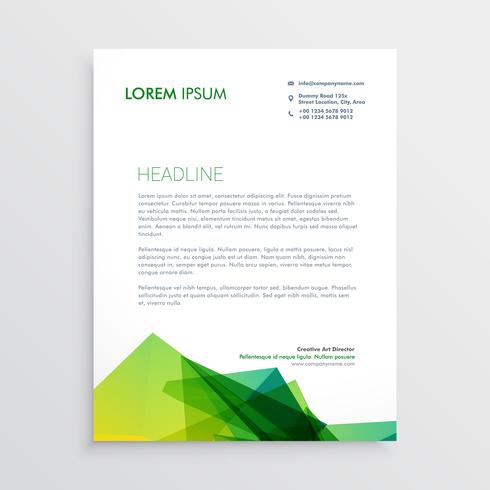 abstract green business letterhead design