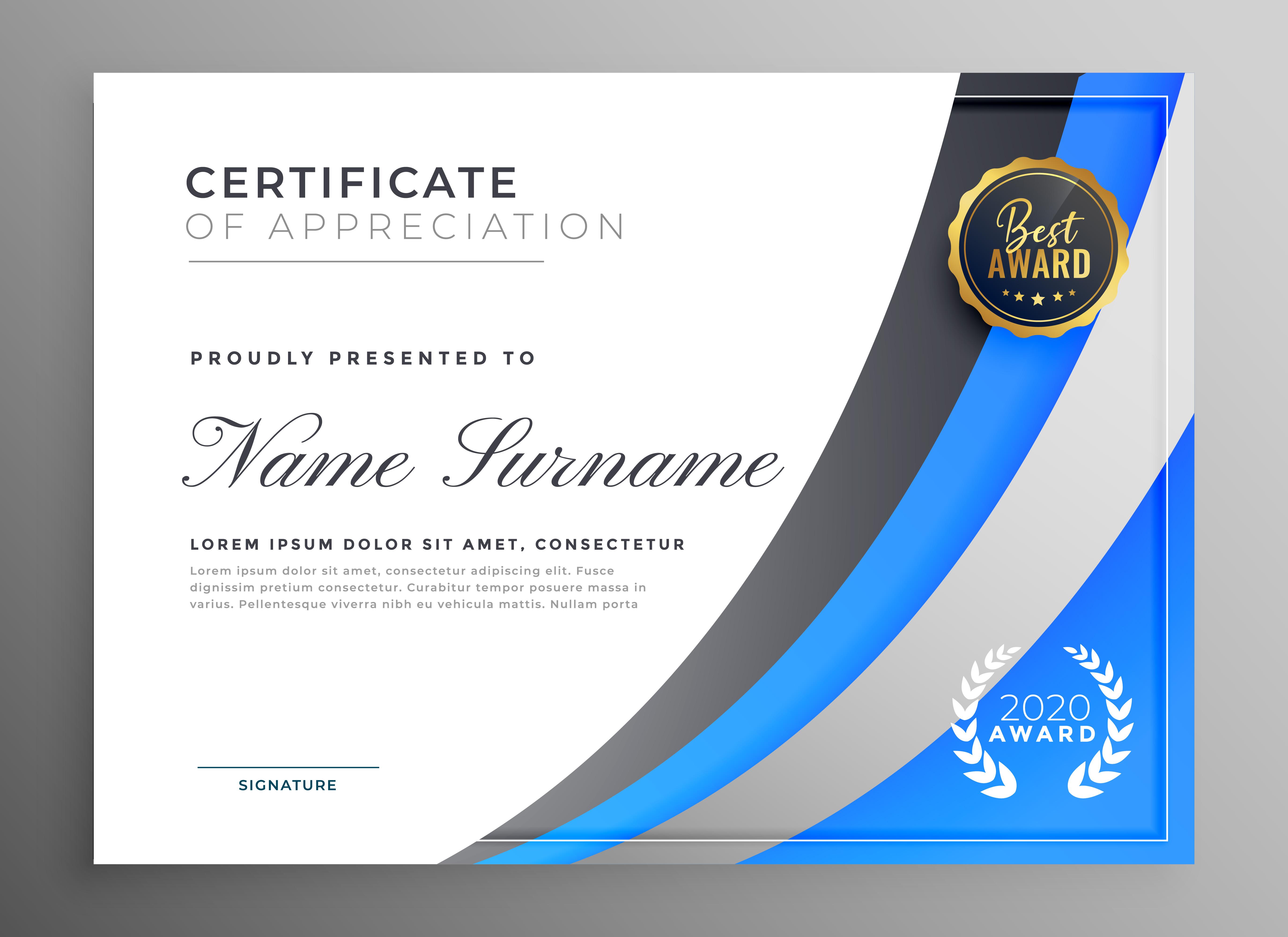 professional blue certificate of appreciation template