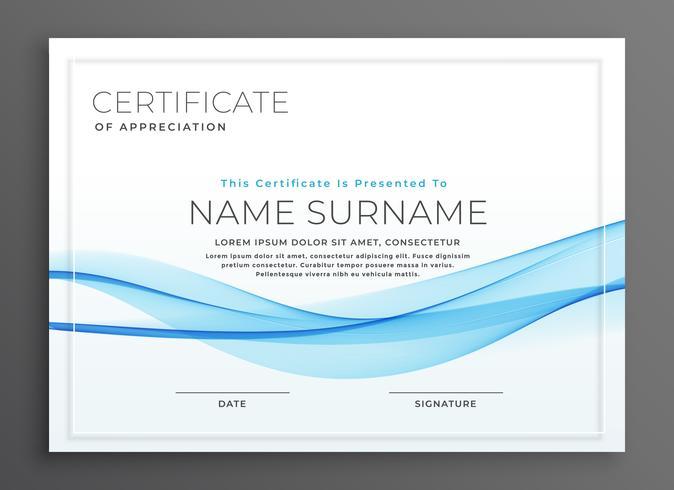 elegant blue wave diploma certificate design